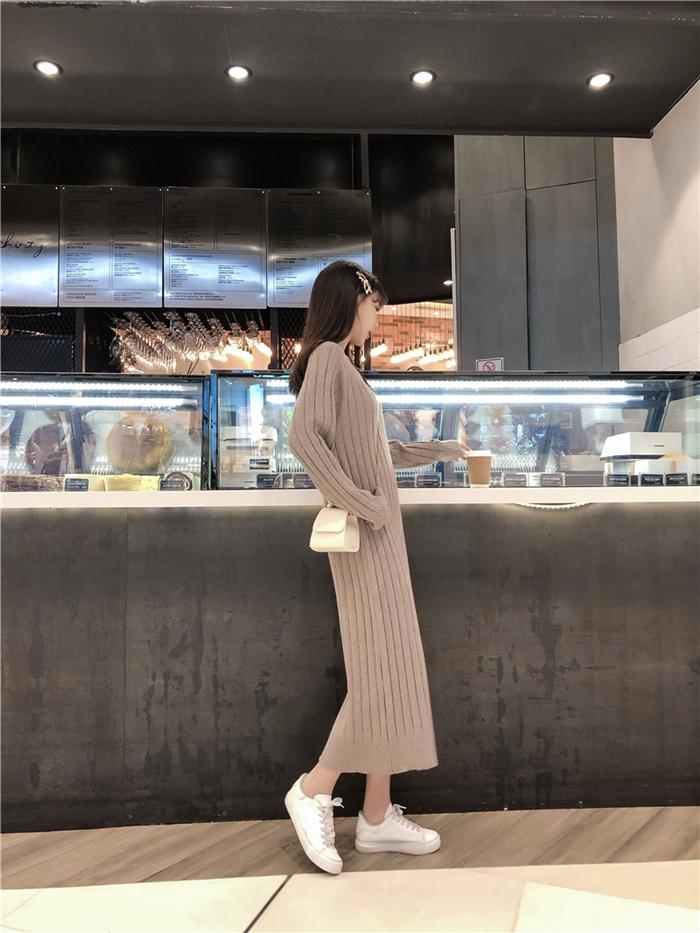韓国 ファッション ワンピース 秋 冬 カジュアル PTXG665  ニュアンスカラー ゆったり リブ ベーシック オルチャン シンプル 定番 セレカジの写真9枚目