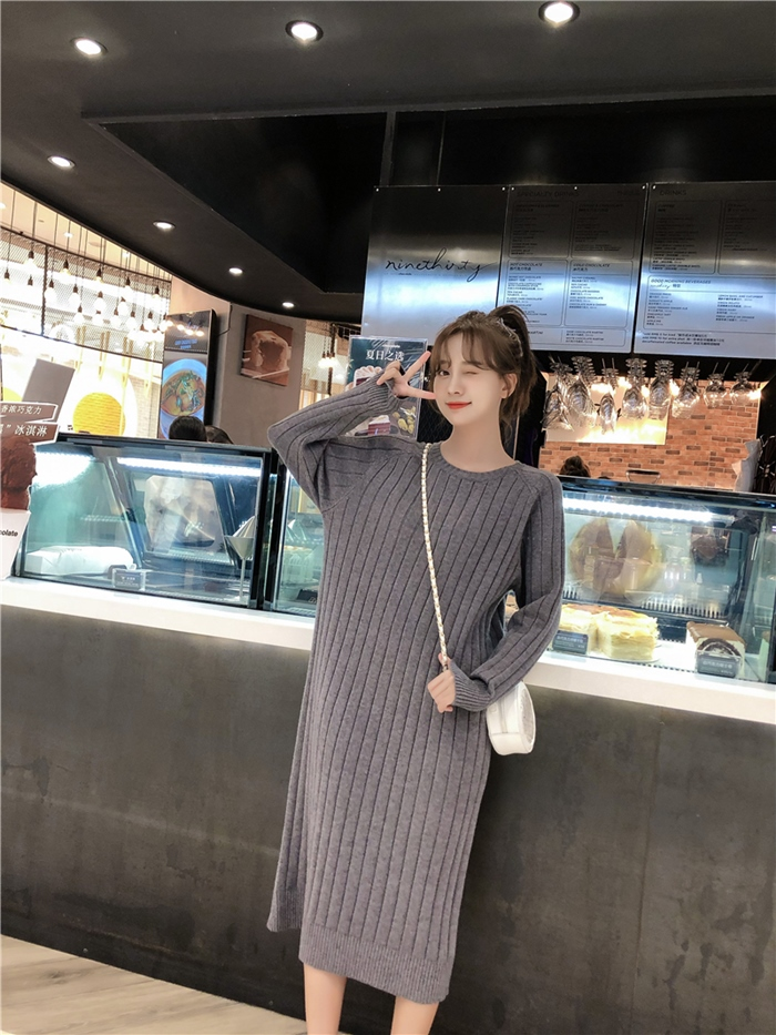 韓国 ファッション ワンピース 秋 冬 カジュアル PTXG665  ニュアンスカラー ゆったり リブ ベーシック オルチャン シンプル 定番 セレカジの写真17枚目