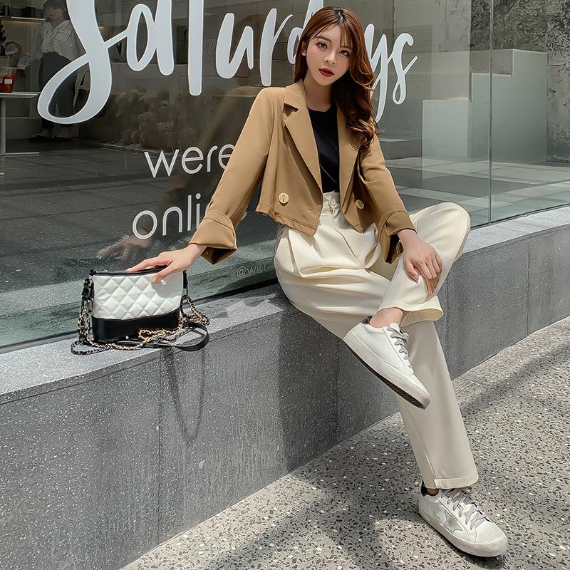 韓国 ファッション セットアップ 秋 冬 春 カジュアル PTXG699  ショートジャケット ハイライズ ワイドパンツ オルチャン シンプル 定番 セレカジの写真2枚目