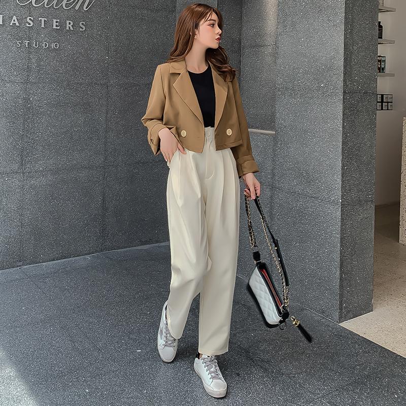 韓国 ファッション セットアップ 秋 冬 春 カジュアル PTXG699  ショートジャケット ハイライズ ワイドパンツ オルチャン シンプル 定番 セレカジの写真4枚目
