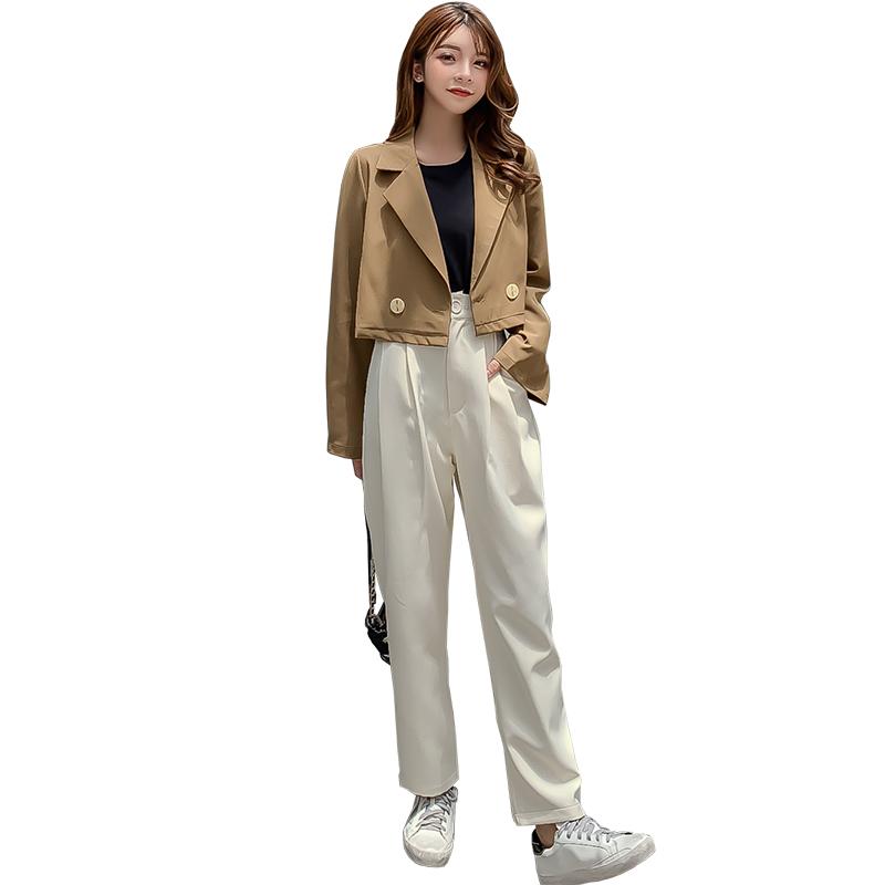 韓国 ファッション セットアップ 秋 冬 春 カジュアル PTXG699  ショートジャケット ハイライズ ワイドパンツ オルチャン シンプル 定番 セレカジの写真6枚目
