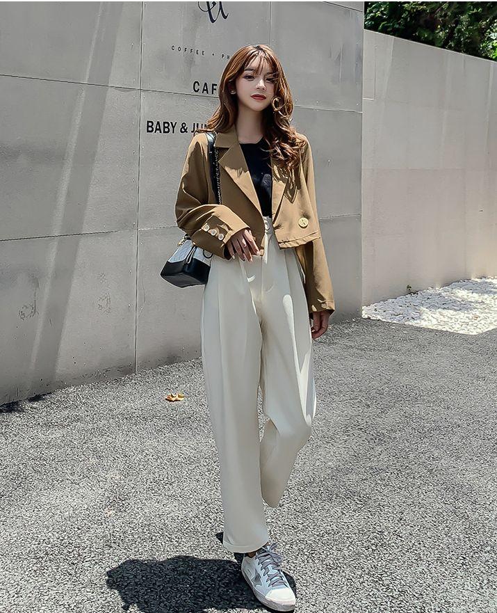 韓国 ファッション セットアップ 秋 冬 春 カジュアル PTXG699  ショートジャケット ハイライズ ワイドパンツ オルチャン シンプル 定番 セレカジの写真8枚目