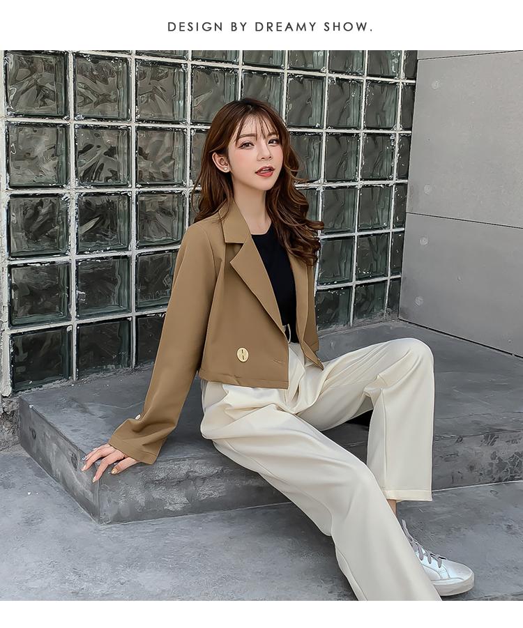 韓国 ファッション セットアップ 秋 冬 春 カジュアル PTXG699  ショートジャケット ハイライズ ワイドパンツ オルチャン シンプル 定番 セレカジの写真9枚目