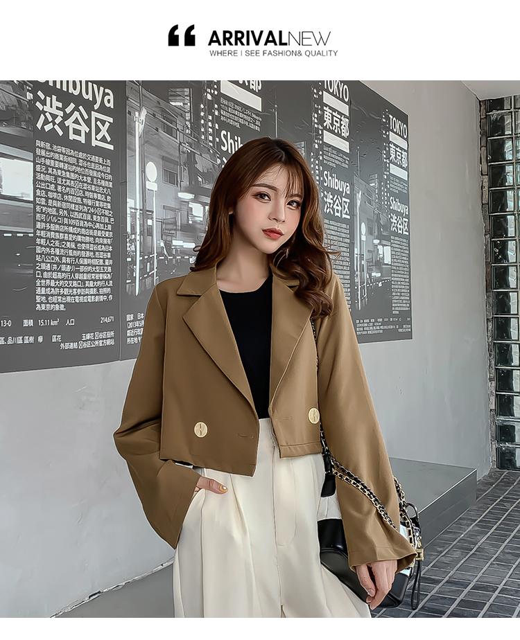 韓国 ファッション セットアップ 秋 冬 春 カジュアル PTXG699  ショートジャケット ハイライズ ワイドパンツ オルチャン シンプル 定番 セレカジの写真10枚目