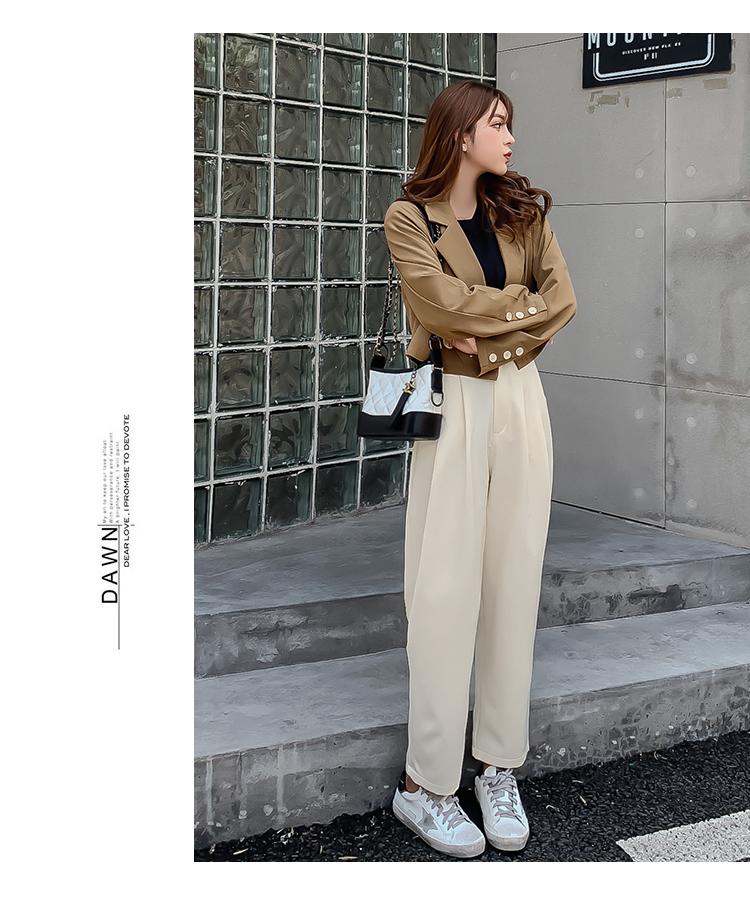 韓国 ファッション セットアップ 秋 冬 春 カジュアル PTXG699  ショートジャケット ハイライズ ワイドパンツ オルチャン シンプル 定番 セレカジの写真11枚目