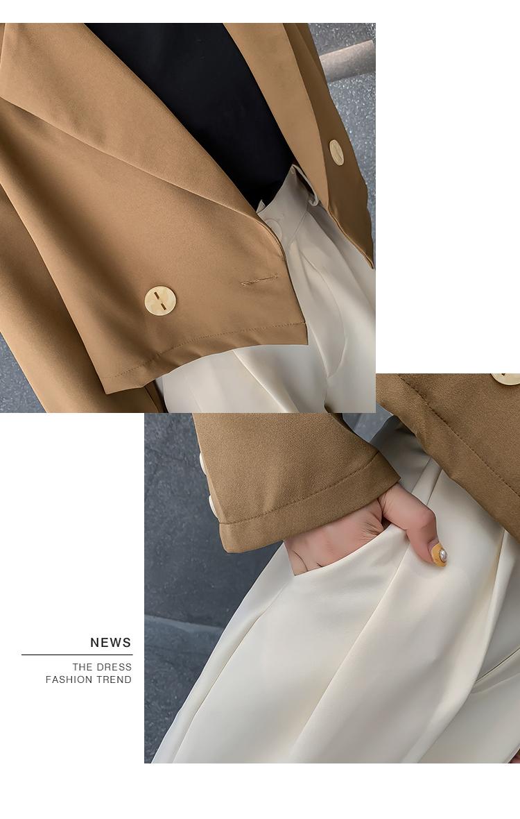 韓国 ファッション セットアップ 秋 冬 春 カジュアル PTXG699  ショートジャケット ハイライズ ワイドパンツ オルチャン シンプル 定番 セレカジの写真20枚目