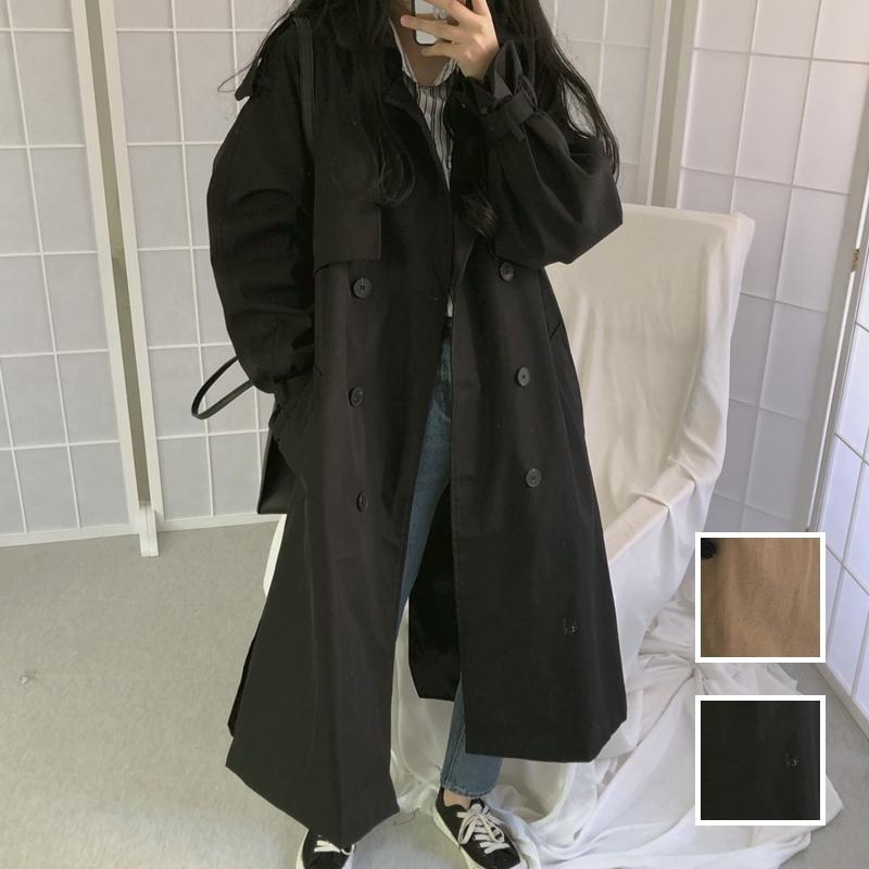 韓国 ファッション アウター トレンチコート 秋 冬 春 カジュアル PTXG700  ビッグシルエット キャンディースリーブ風 春秋 オルチャン シンプル 定番 セレカジの写真1枚目