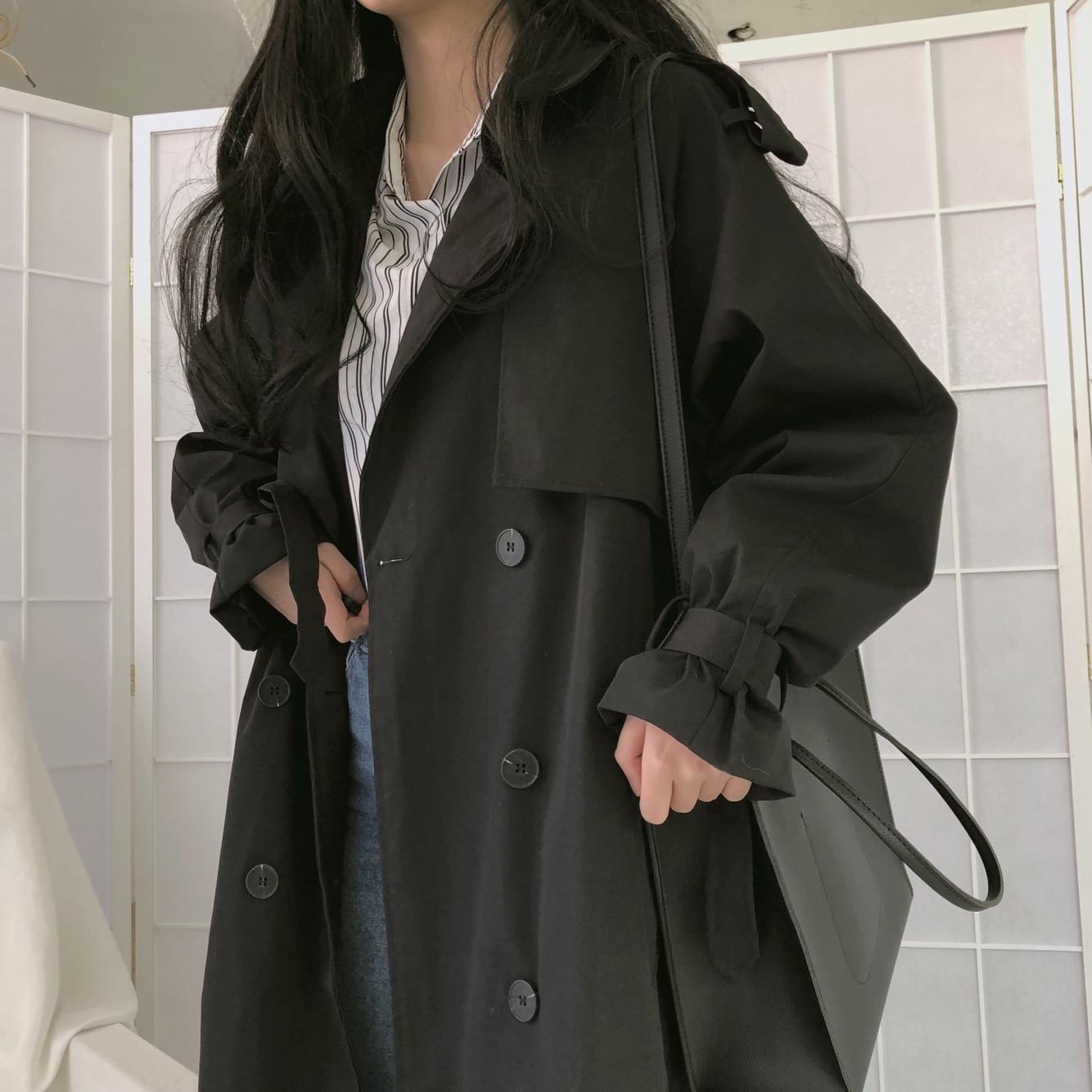 韓国 ファッション アウター トレンチコート 秋 冬 春 カジュアル PTXG700  ビッグシルエット キャンディースリーブ風 春秋 オルチャン シンプル 定番 セレカジの写真7枚目
