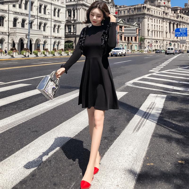 韓国 ファッション ワンピース パーティードレス ショート ミニ丈 秋 冬 パーティー ブライダル PTXG790 結婚式 お呼ばれ ステッチ風 フリル フレア ミニワンピ  二次会 セレブ きれいめの写真5枚目