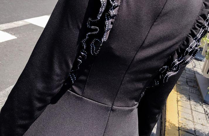 韓国 ファッション ワンピース パーティードレス ショート ミニ丈 秋 冬 パーティー ブライダル PTXG790 結婚式 お呼ばれ ステッチ風 フリル フレア ミニワンピ  二次会 セレブ きれいめの写真9枚目