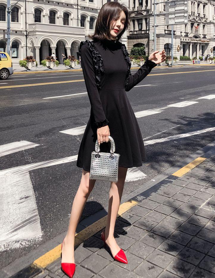 韓国 ファッション ワンピース パーティードレス ショート ミニ丈 秋 冬 パーティー ブライダル PTXG790 結婚式 お呼ばれ ステッチ風 フリル フレア ミニワンピ  二次会 セレブ きれいめの写真10枚目