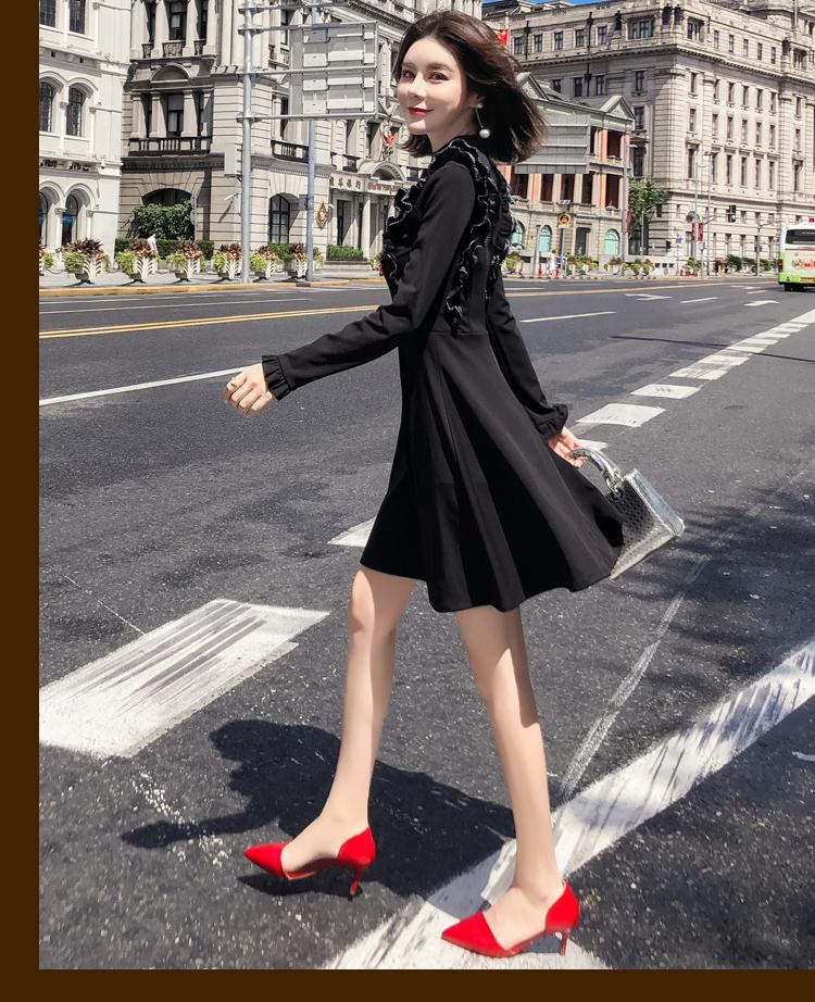 韓国 ファッション ワンピース パーティードレス ショート ミニ丈 秋 冬 パーティー ブライダル PTXG790 結婚式 お呼ばれ ステッチ風 フリル フレア ミニワンピ  二次会 セレブ きれいめの写真11枚目