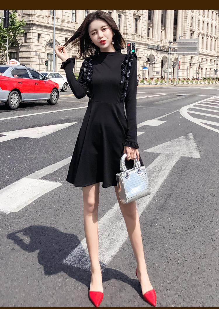韓国 ファッション ワンピース パーティードレス ショート ミニ丈 秋 冬 パーティー ブライダル PTXG790 結婚式 お呼ばれ ステッチ風 フリル フレア ミニワンピ  二次会 セレブ きれいめの写真15枚目