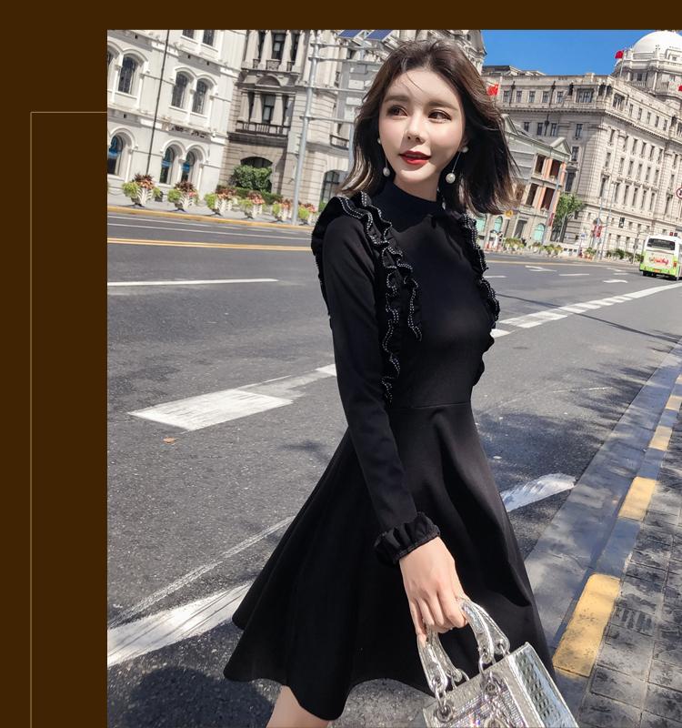韓国 ファッション ワンピース パーティードレス ショート ミニ丈 秋 冬 パーティー ブライダル PTXG790 結婚式 お呼ばれ ステッチ風 フリル フレア ミニワンピ  二次会 セレブ きれいめの写真16枚目