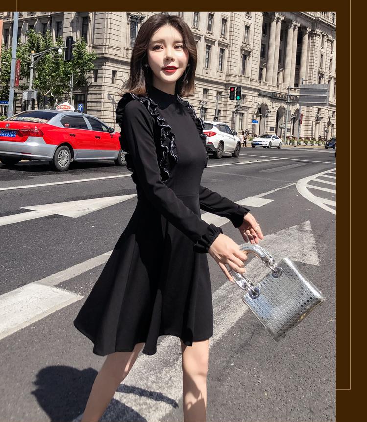 韓国 ファッション ワンピース パーティードレス ショート ミニ丈 秋 冬 パーティー ブライダル PTXG790 結婚式 お呼ばれ ステッチ風 フリル フレア ミニワンピ  二次会 セレブ きれいめの写真17枚目