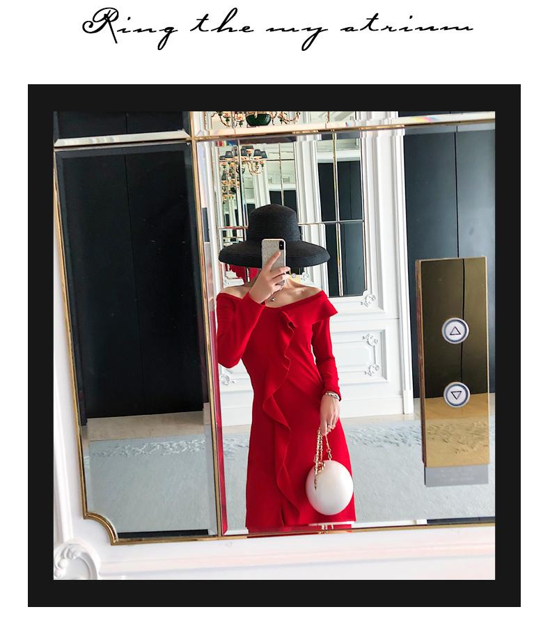 韓国 ファッション ワンピース パーティードレス ロング マキシ 秋 冬 パーティー ブライダル PTXG816 結婚式 お呼ばれ ラッフル アシンメトリー オフショル フレ 二次会 セレブ きれいめの写真12枚目