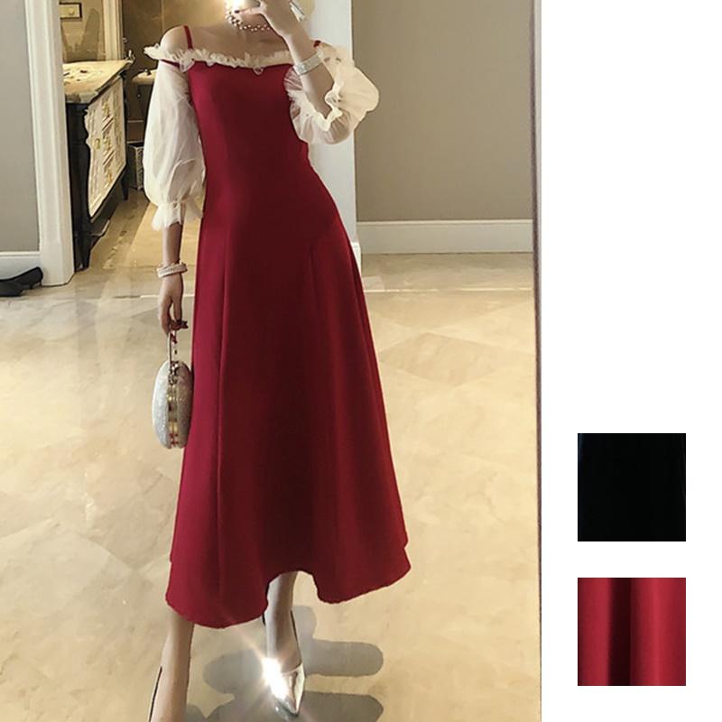 【即納】韓国 ファッション ワンピース パーティードレス ロング マキシ 秋 冬 春 パーティー ブライダル SPTXG820 結婚式 お呼ばれ シースルー フリル キャミワ 二次会 セレブ きれいめの写真1枚目