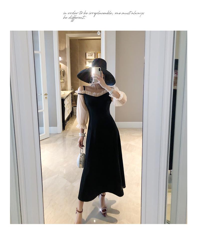 【即納】韓国 ファッション ワンピース パーティードレス ロング マキシ 秋 冬 春 パーティー ブライダル SPTXG820 結婚式 お呼ばれ シースルー フリル キャミワ 二次会 セレブ きれいめの写真3枚目