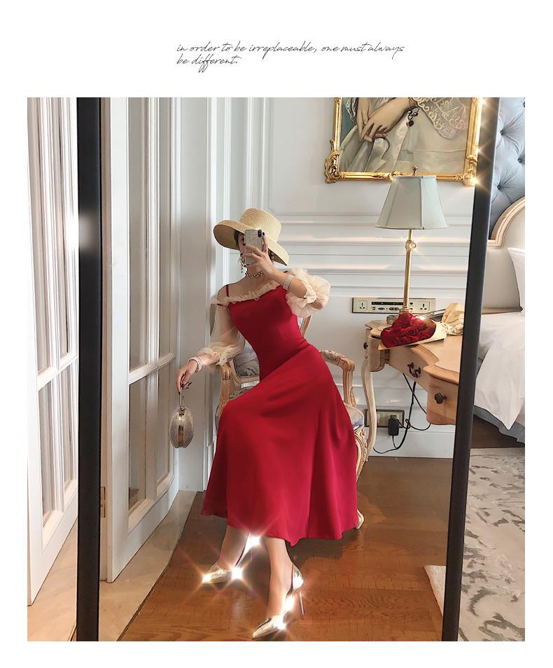 【即納】韓国 ファッション ワンピース パーティードレス ロング マキシ 秋 冬 春 パーティー ブライダル SPTXG820 結婚式 お呼ばれ シースルー フリル キャミワ 二次会 セレブ きれいめの写真4枚目