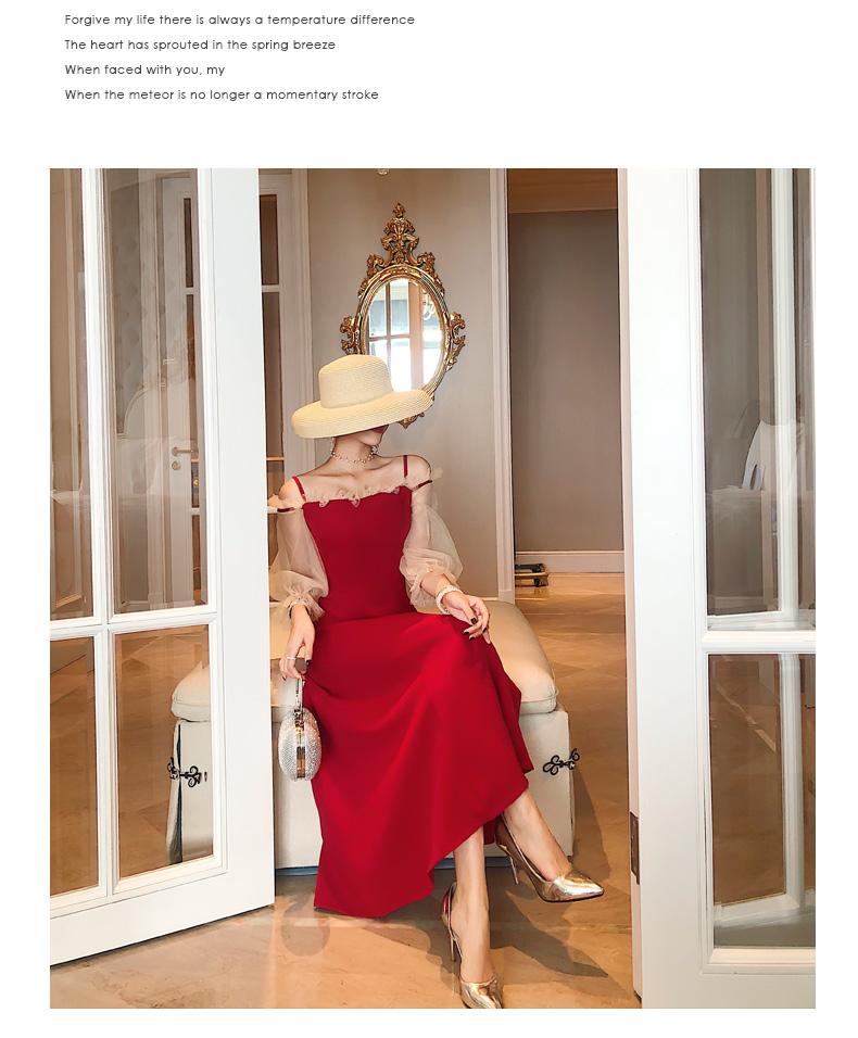 【即納】韓国 ファッション ワンピース パーティードレス ロング マキシ 秋 冬 春 パーティー ブライダル SPTXG820 結婚式 お呼ばれ シースルー フリル キャミワ 二次会 セレブ きれいめの写真5枚目