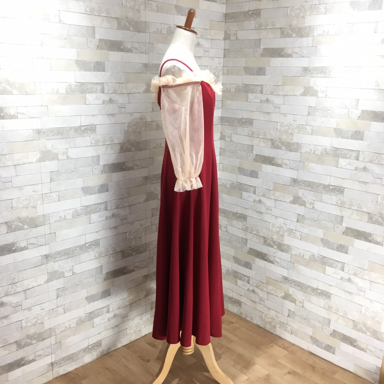【即納】韓国 ファッション ワンピース パーティードレス ロング マキシ 秋 冬 春 パーティー ブライダル SPTXG820 結婚式 お呼ばれ シースルー フリル キャミワ 二次会 セレブ きれいめの写真9枚目