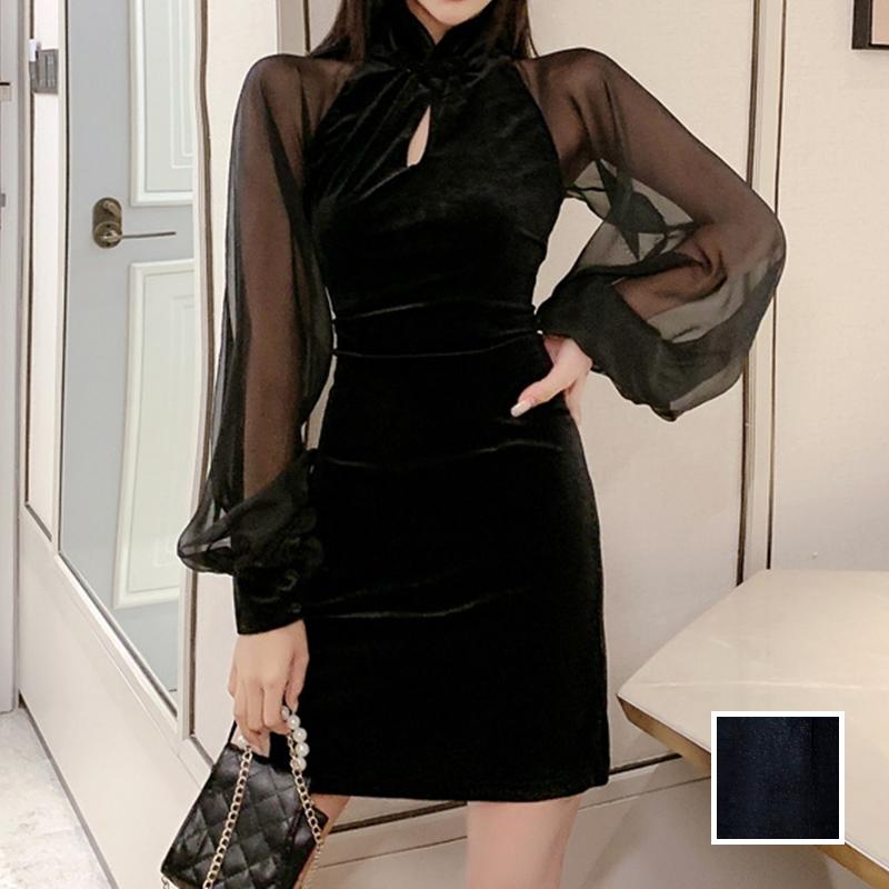 【即納】韓国 ファッション ワンピース パーティードレス ショート ミニ丈 秋 冬 パーティー ブライダル SPTXG825 結婚式 お呼ばれ シースルー チャイナドレス風  二次会 セレブ きれいめの写真1枚目