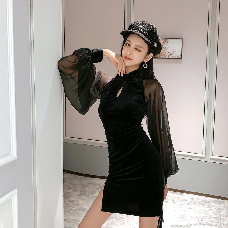 【即納】韓国 ファッション ワンピース パーティードレス ショート ミニ丈 秋 冬 パーティー ブライダル SPTXG825 結婚式 お呼ばれ シースルー チャイナドレス風  二次会 セレブ きれいめの写真3枚目