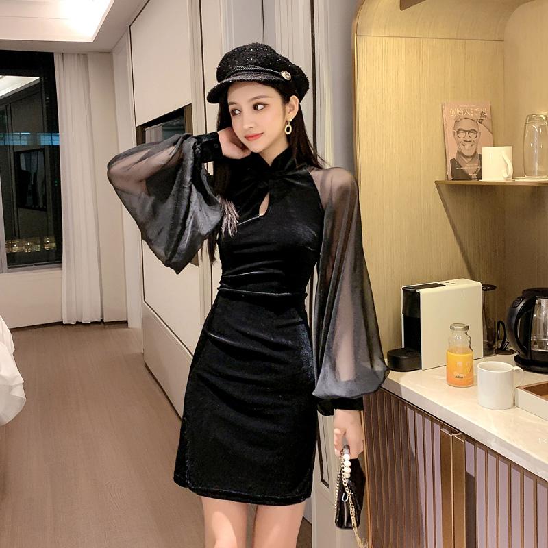 【即納】韓国 ファッション ワンピース パーティードレス ショート ミニ丈 秋 冬 パーティー ブライダル SPTXG825 結婚式 お呼ばれ シースルー チャイナドレス風  二次会 セレブ きれいめの写真5枚目