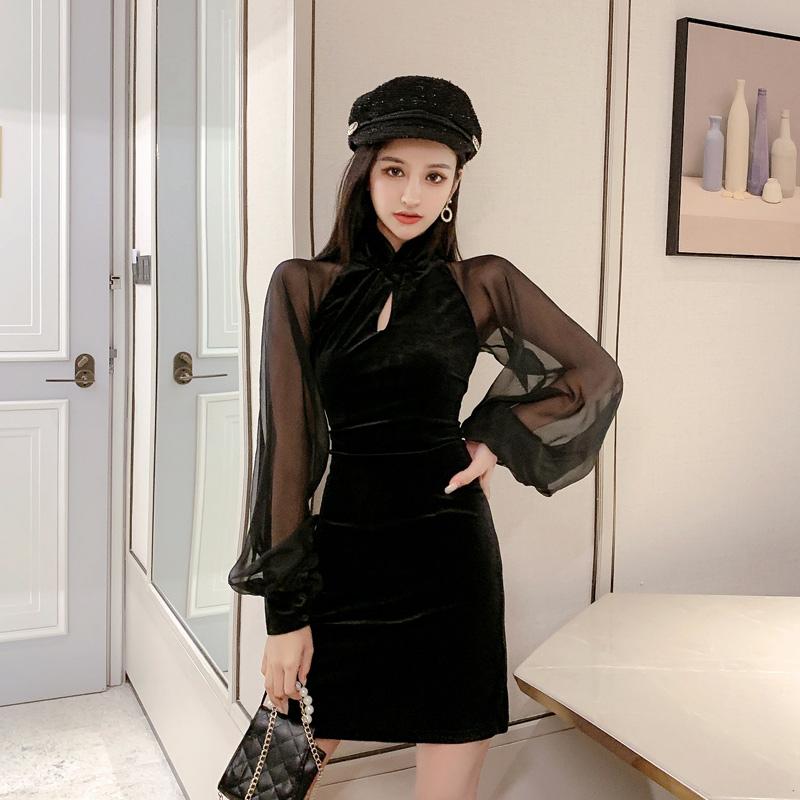 【即納】韓国 ファッション ワンピース パーティードレス ショート ミニ丈 秋 冬 パーティー ブライダル SPTXG825 結婚式 お呼ばれ シースルー チャイナドレス風  二次会 セレブ きれいめの写真6枚目