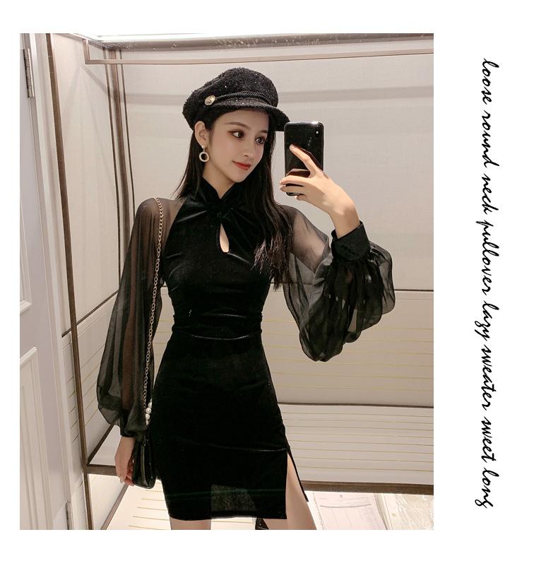 【即納】韓国 ファッション ワンピース パーティードレス ショート ミニ丈 秋 冬 パーティー ブライダル SPTXG825 結婚式 お呼ばれ シースルー チャイナドレス風  二次会 セレブ きれいめの写真7枚目