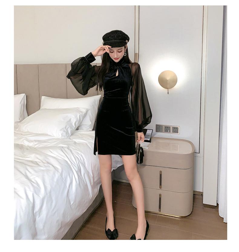 【即納】韓国 ファッション ワンピース パーティードレス ショート ミニ丈 秋 冬 パーティー ブライダル SPTXG825 結婚式 お呼ばれ シースルー チャイナドレス風  二次会 セレブ きれいめの写真10枚目