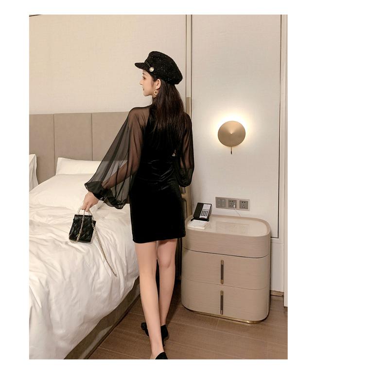 【即納】韓国 ファッション ワンピース パーティードレス ショート ミニ丈 秋 冬 パーティー ブライダル SPTXG825 結婚式 お呼ばれ シースルー チャイナドレス風  二次会 セレブ きれいめの写真11枚目