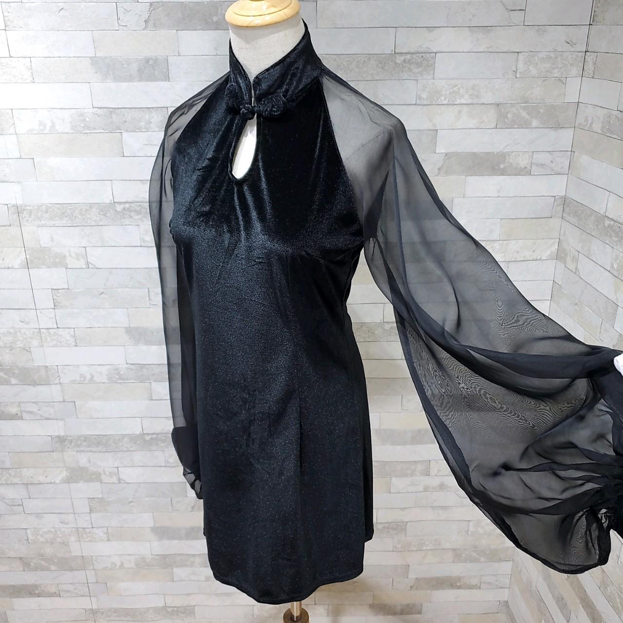 【即納】韓国 ファッション ワンピース パーティードレス ショート ミニ丈 秋 冬 パーティー ブライダル SPTXG825 結婚式 お呼ばれ シースルー チャイナドレス風  二次会 セレブ きれいめの写真20枚目