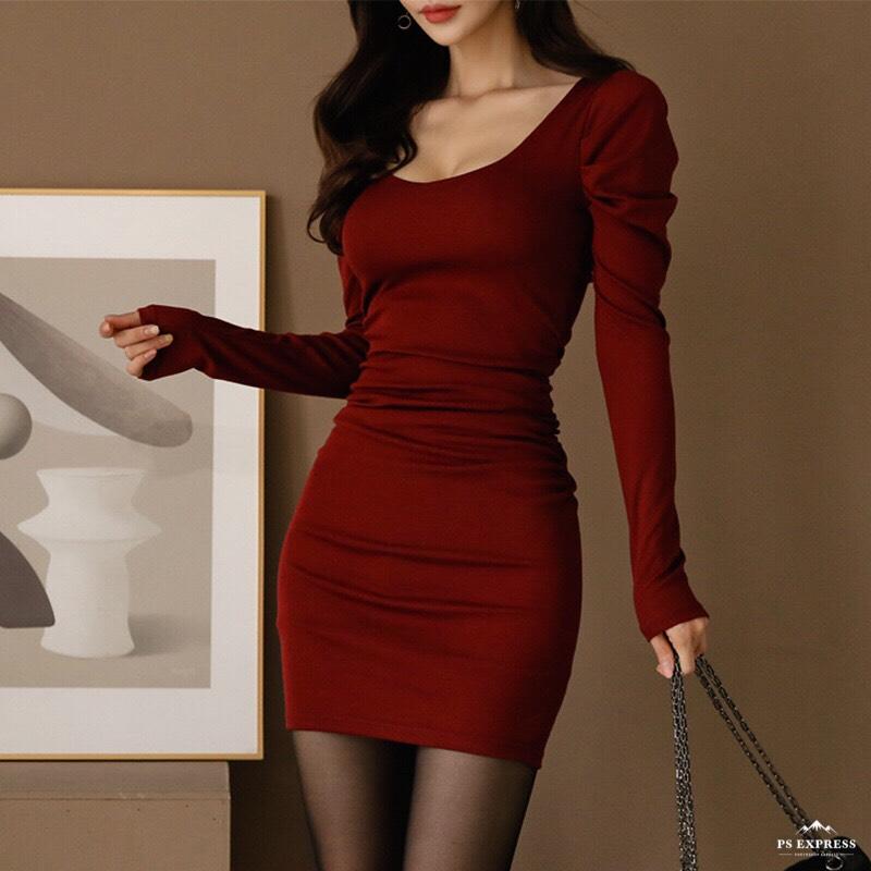韓国 ファッション ワンピース パーティードレス ショート ミニ丈 秋 冬 パーティー ブライダル PTXG847 結婚式 お呼ばれ ノーカラー マイクロミニワンピ ベーシッ 二次会 セレブ きれいめの写真2枚目