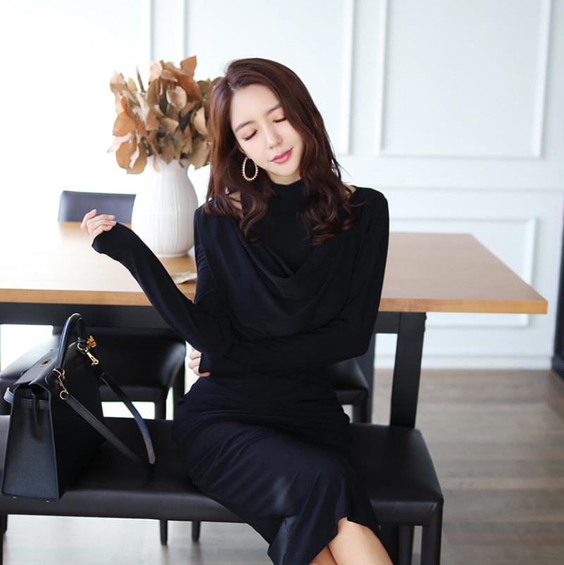 韓国 ファッション ワンピース パーティードレス ひざ丈 ミディアム 秋 冬 パーティー ブライダル PTXG848 結婚式 お呼ばれ ドレープ 肌見せ レイヤード風 ベーシ 二次会 セレブ きれいめの写真4枚目