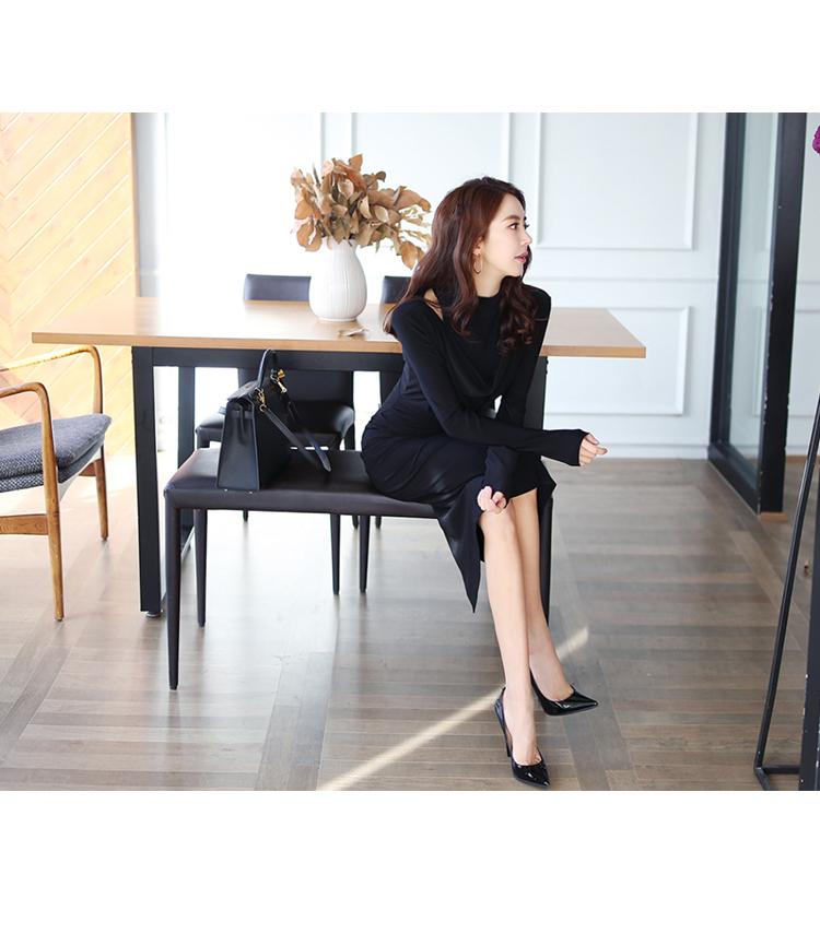 韓国 ファッション ワンピース パーティードレス ひざ丈 ミディアム 秋 冬 パーティー ブライダル PTXG848 結婚式 お呼ばれ ドレープ 肌見せ レイヤード風 ベーシ 二次会 セレブ きれいめの写真5枚目