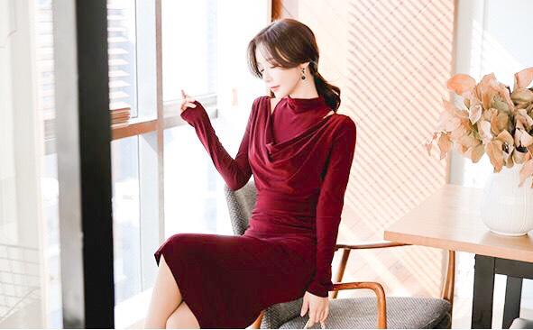 韓国 ファッション ワンピース パーティードレス ひざ丈 ミディアム 秋 冬 パーティー ブライダル PTXG848 結婚式 お呼ばれ ドレープ 肌見せ レイヤード風 ベーシ 二次会 セレブ きれいめの写真8枚目
