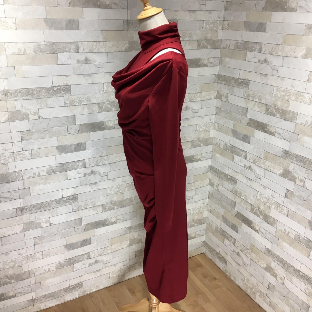 韓国 ファッション ワンピース パーティードレス ひざ丈 ミディアム 秋 冬 パーティー ブライダル PTXG848 結婚式 お呼ばれ ドレープ 肌見せ レイヤード風 ベーシ 二次会 セレブ きれいめの写真15枚目