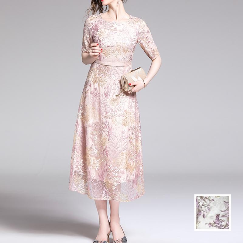 韓国 ファッション ワンピース パーティードレス ロング マキシ 春 夏 秋 パーティー ブライダル PTXG855 結婚式 お呼ばれ シースルー 光沢 ハイウエスト セミフ 二次会 セレブ きれいめの写真1枚目
