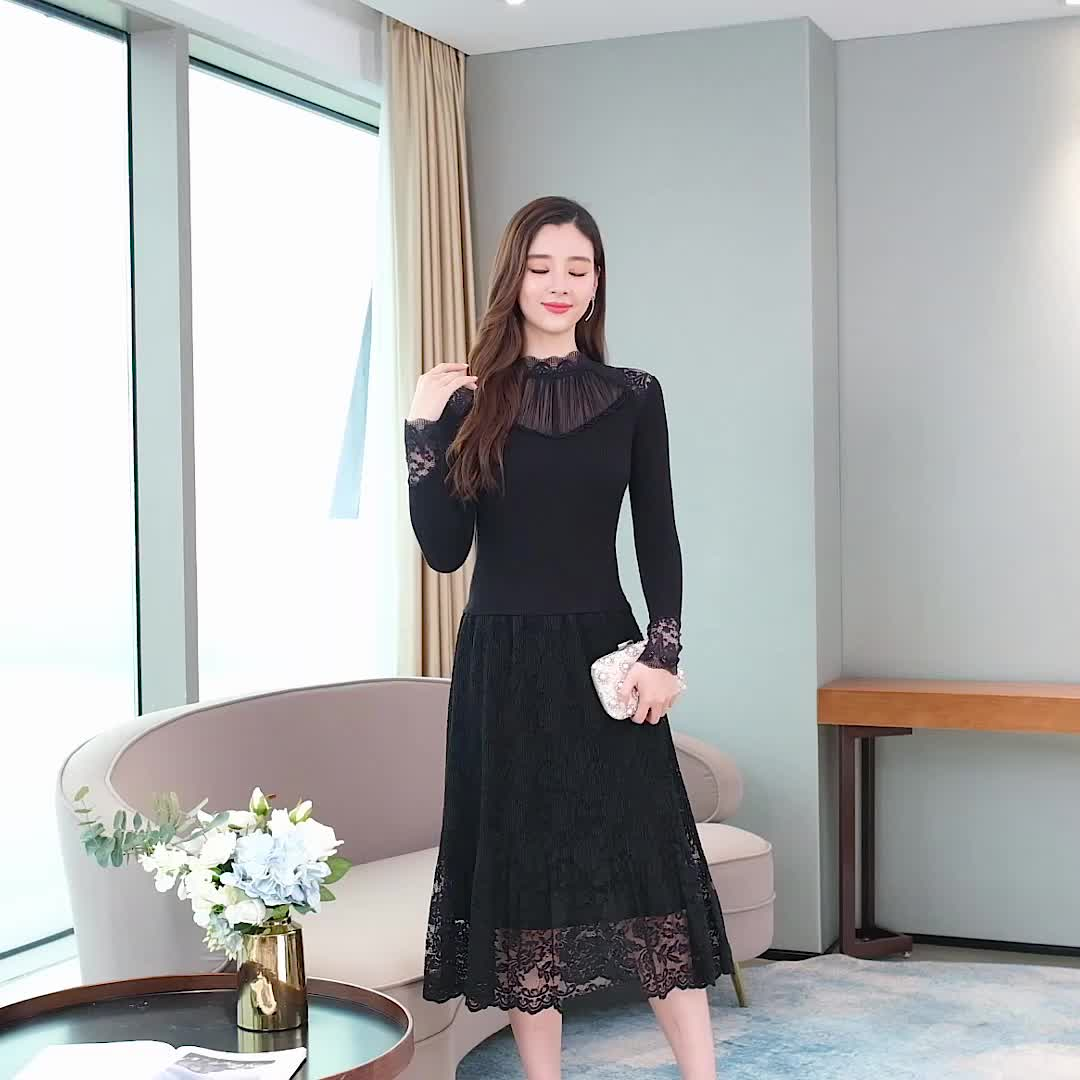 韓国 ファッション ワンピース パーティードレス ロング マキシ 秋 冬 パーティー ブライダル PTXG860 結婚式 お呼ばれ シースルー オフショルダー風 リブニット  二次会 セレブ きれいめの写真2枚目