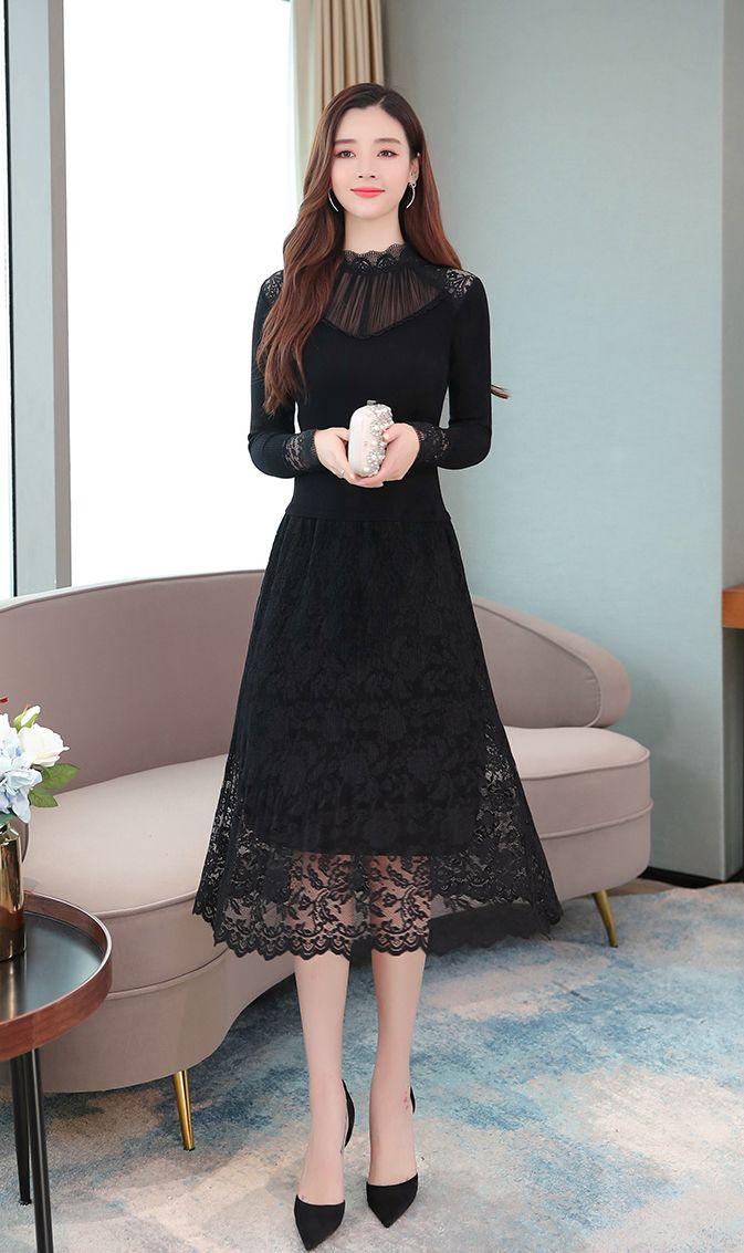 韓国 ファッション ワンピース パーティードレス ロング マキシ 秋 冬 パーティー ブライダル PTXG860 結婚式 お呼ばれ シースルー オフショルダー風 リブニット  二次会 セレブ きれいめの写真11枚目