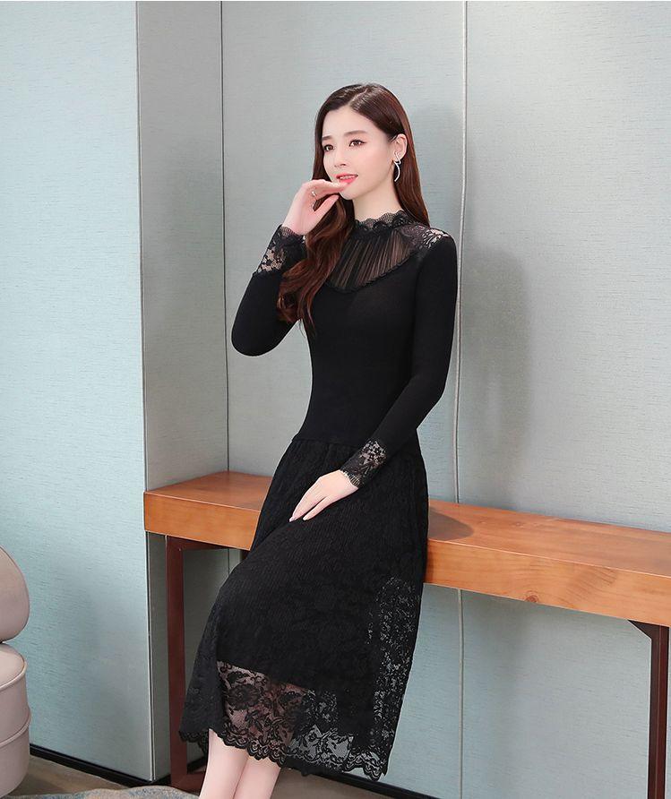 韓国 ファッション ワンピース パーティードレス ロング マキシ 秋 冬 パーティー ブライダル PTXG860 結婚式 お呼ばれ シースルー オフショルダー風 リブニット  二次会 セレブ きれいめの写真14枚目
