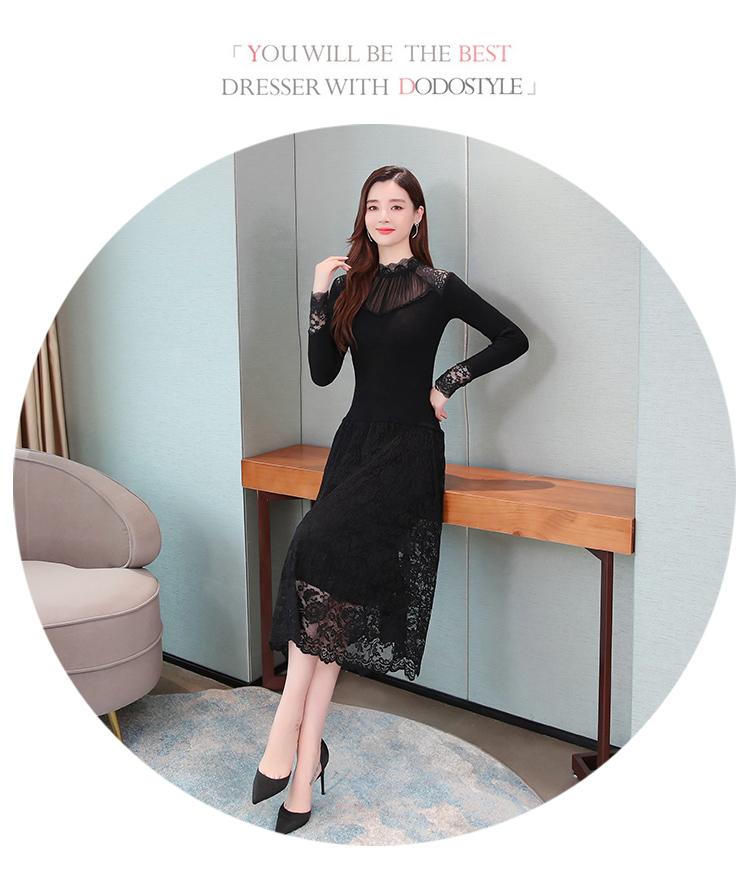 韓国 ファッション ワンピース パーティードレス ロング マキシ 秋 冬 パーティー ブライダル PTXG860 結婚式 お呼ばれ シースルー オフショルダー風 リブニット  二次会 セレブ きれいめの写真16枚目