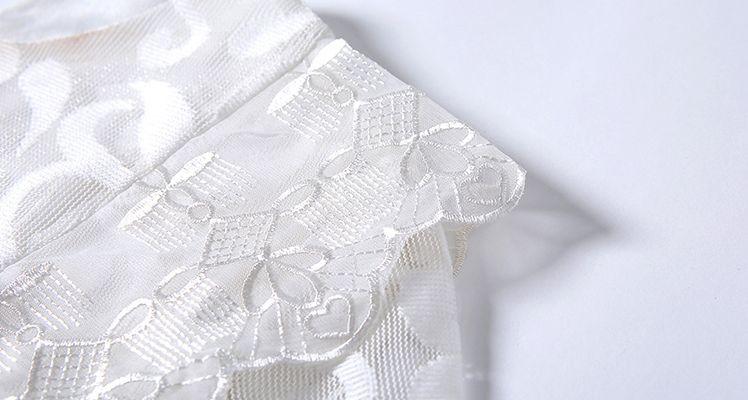 韓国 ファッション ワンピース パーティードレス ロング マキシ 秋 冬 春 パーティー ブライダル PTXG864 結婚式 お呼ばれ オーナメント柄 シースルー ハイウエス 二次会 セレブ きれいめの写真17枚目
