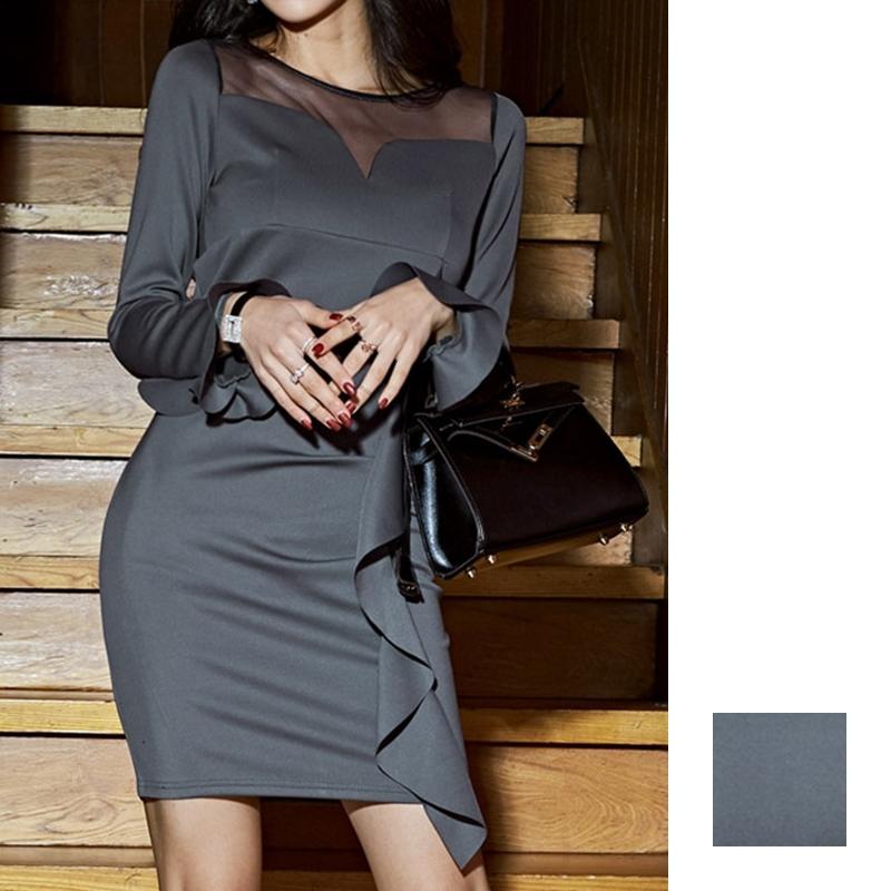 韓国 ファッション ワンピース パーティードレス ショート ミニ丈 秋 冬 パーティー ブライダル PTXG865 結婚式 お呼ばれ シースルー アシンメトリー ラッフル タ 二次会 セレブ きれいめの写真1枚目