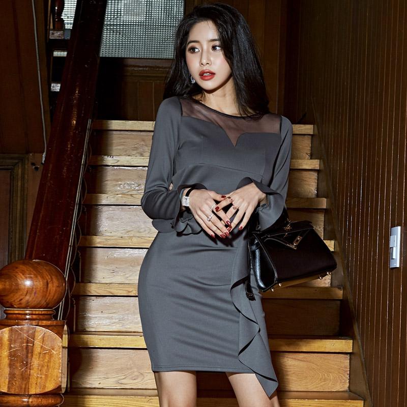 韓国 ファッション ワンピース パーティードレス ショート ミニ丈 秋 冬 パーティー ブライダル PTXG865 結婚式 お呼ばれ シースルー アシンメトリー ラッフル タ 二次会 セレブ きれいめの写真3枚目