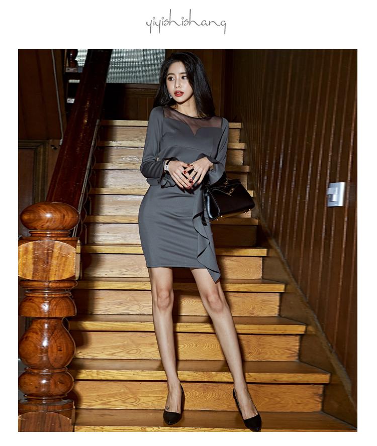 韓国 ファッション ワンピース パーティードレス ショート ミニ丈 秋 冬 パーティー ブライダル PTXG865 結婚式 お呼ばれ シースルー アシンメトリー ラッフル タ 二次会 セレブ きれいめの写真8枚目