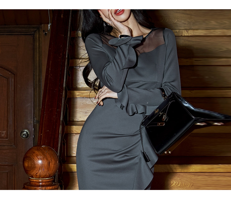 韓国 ファッション ワンピース パーティードレス ショート ミニ丈 秋 冬 パーティー ブライダル PTXG865 結婚式 お呼ばれ シースルー アシンメトリー ラッフル タ 二次会 セレブ きれいめの写真9枚目
