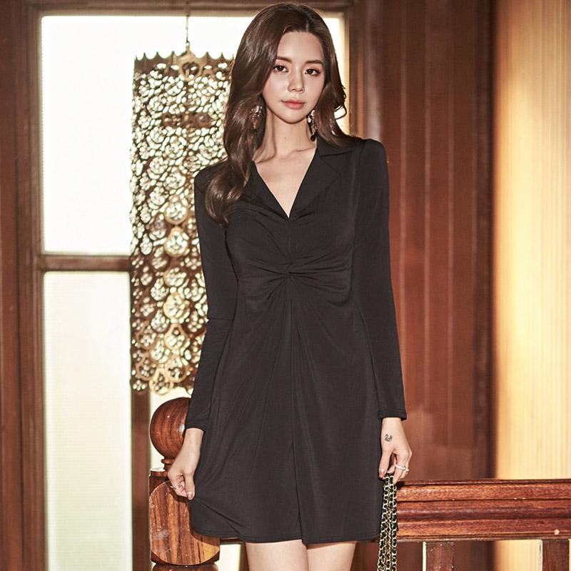 韓国 ファッション ワンピース パーティードレス ショート ミニ丈 秋 冬 パーティー ブライダル PTXG879 結婚式 お呼ばれ シャツワンピ風 ねじり ゆるタイト 体型 二次会 セレブ きれいめの写真3枚目