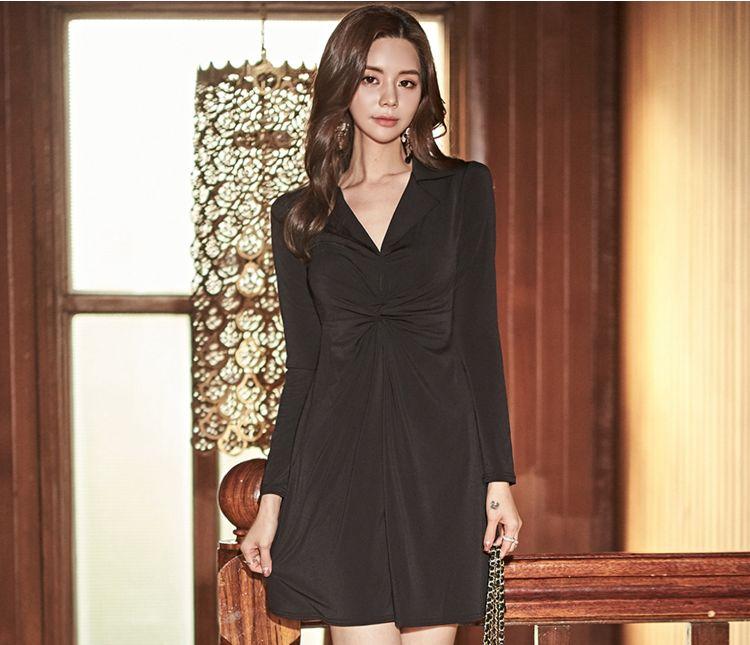 韓国 ファッション ワンピース パーティードレス ショート ミニ丈 秋 冬 パーティー ブライダル PTXG879 結婚式 お呼ばれ シャツワンピ風 ねじり ゆるタイト 体型 二次会 セレブ きれいめの写真9枚目
